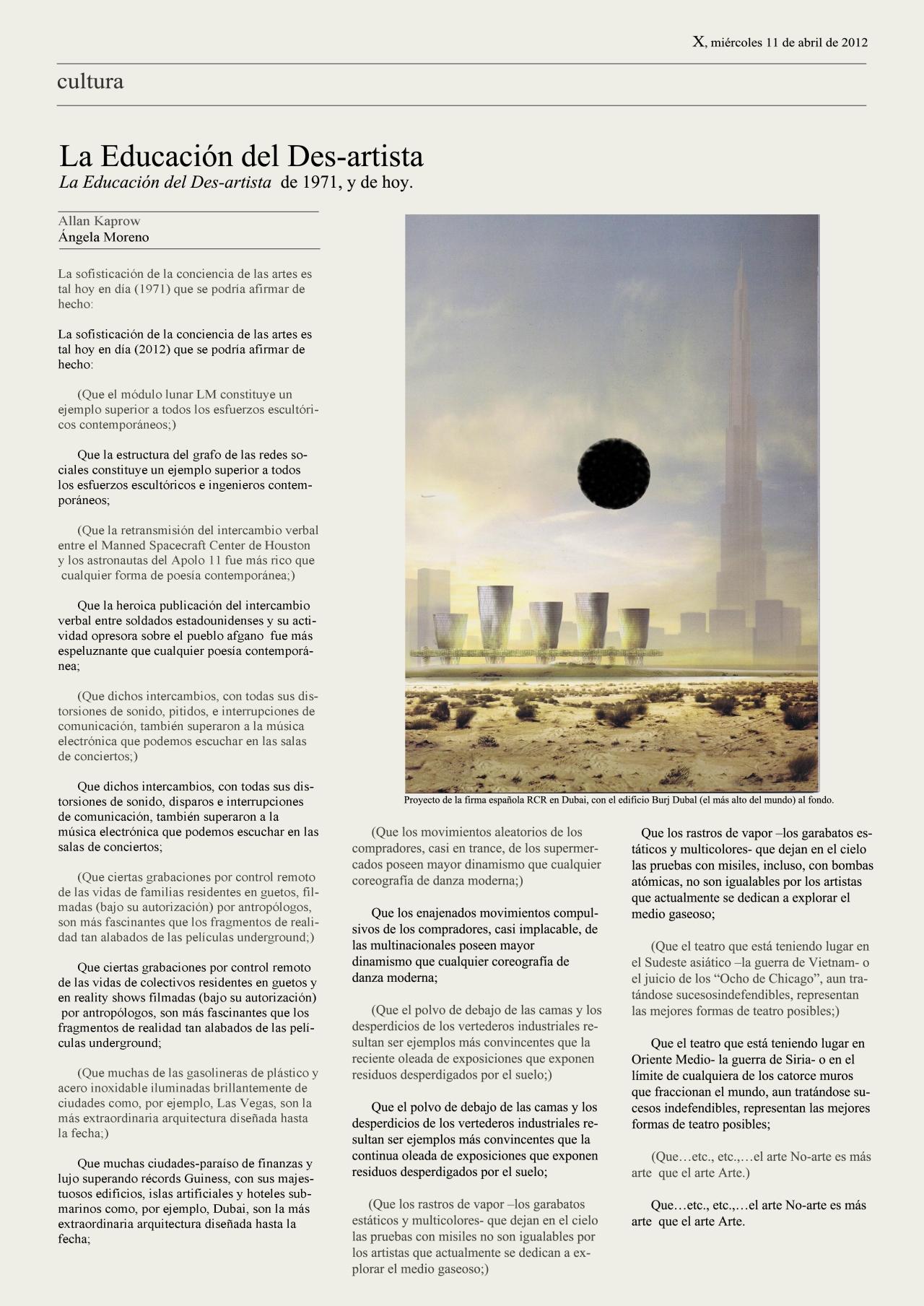 1st Text Allan Kaprow (1971) . 2nd Text Ángela Moreno (2012).